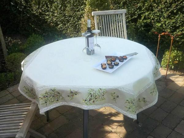 Tischdecke Jacquard ecru DeLuxe 130x130 cm Olives beige Matelassé aus Frankreich Provence