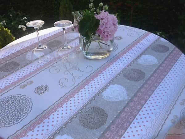 Tischdecke Provence 160 cm rund rosa beige Monogramme aus Frankreich