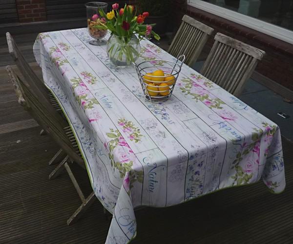 Tischdecke Provence 150x300 cm hellgrau Rosenmotive aus Frankreich