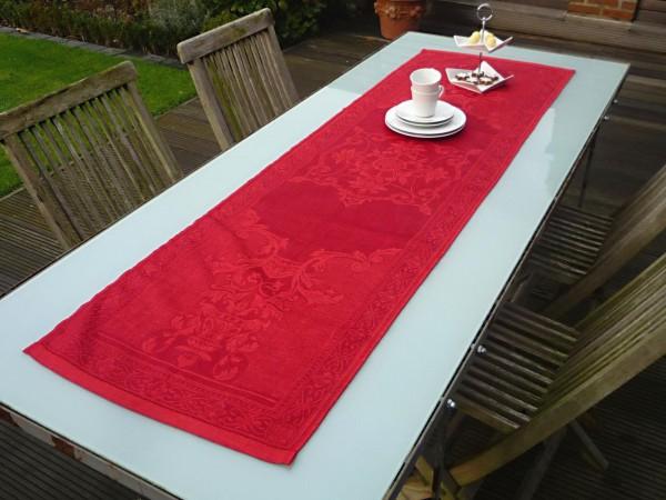 Rot übernimmt hier den dominanten Part… - Edler Jacquard-Tischläufer Dijon rouge