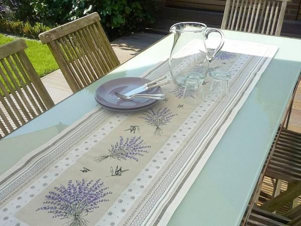 Lavendel – ein sonniger Klassiker! – Gobelin-Tischläufer Grimaud creme