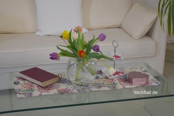Pusteblume und Co – hallo Frühling! – Gobelin-Tischläufer Elaine in Creme