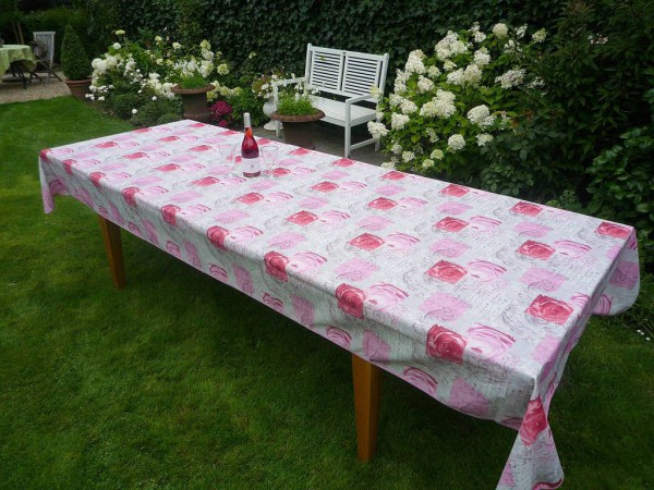 Tischdecke Provence 150x350 cm rosa Rosenmotive aus Frankreich