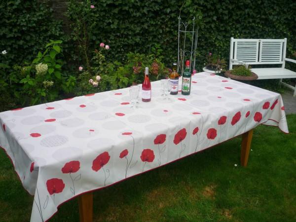 Tischdecke Provence 150x350 cm weiß Mohnblumen aus Frankreich