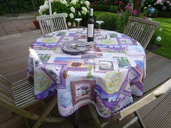 Tischdecke Provence 160 cm rund flieder Lavendelmotive aus Frankreich