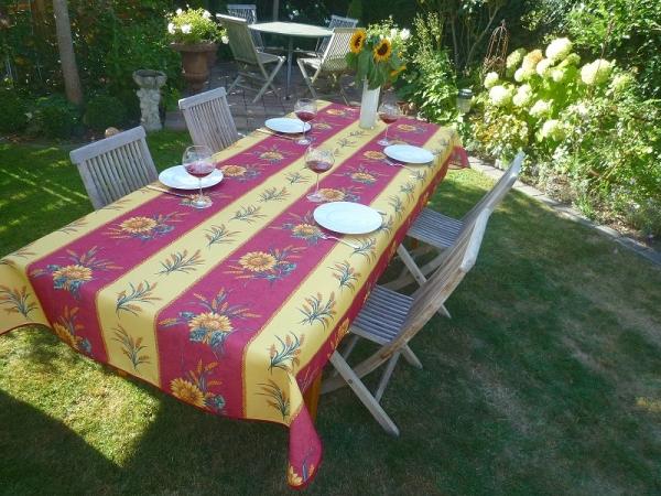 Lieblingsduo – Sonnenblume und Ähre! – Sonnige bügelfrei Tischdecke in Gelb und Rot