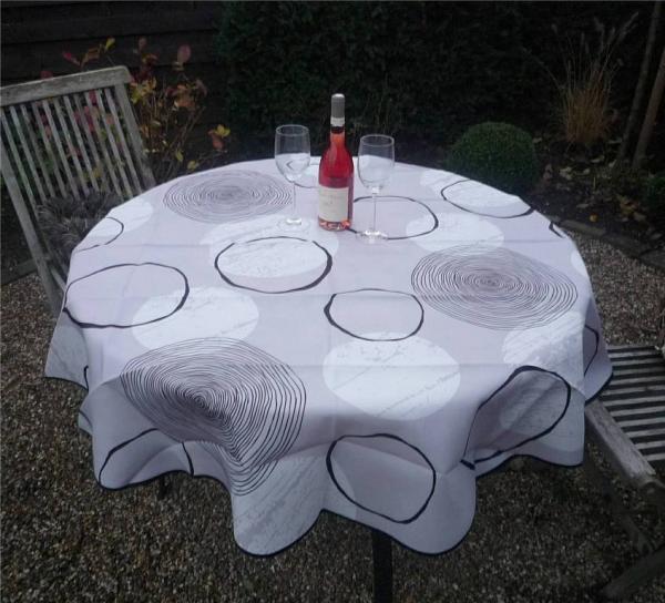 Tischdecke Provence 160 cm rund grau Kreismuster aus Frankreich