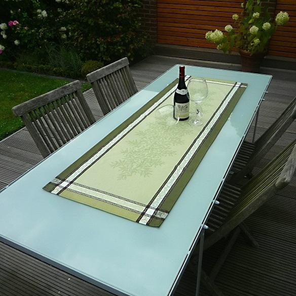 Tischläufer Provence 50x150 cm Baumwolle Jacquard Menton vert