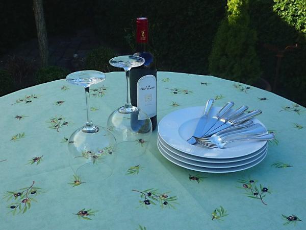 Tischdecke Provence Baumwolle 155 cm rund Oliviers vert aus Frankreich