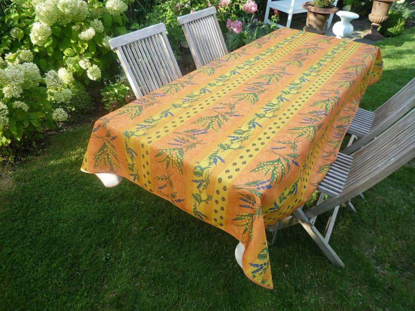 Tischdecke Provence 150x200 cm terrakotta gelb Zitronen und Mimosen aus Frankreich