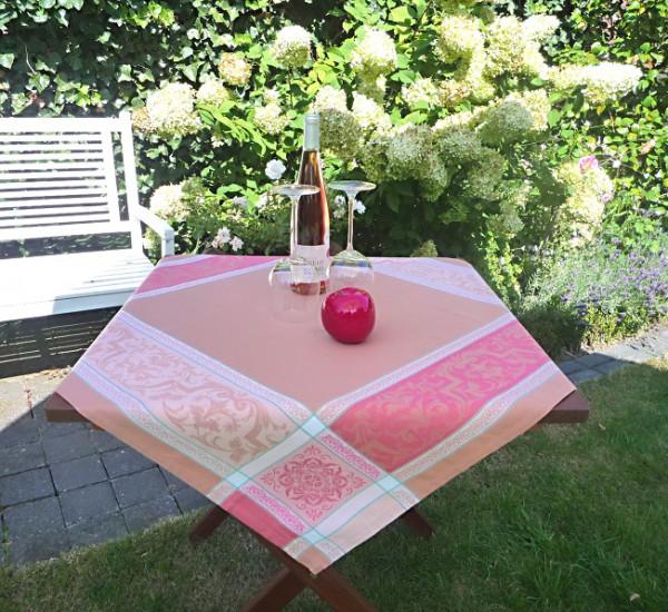 Tischdecke Jacquard rosa 90x90 cm Renaissance rosé aus Frankreich Provence
