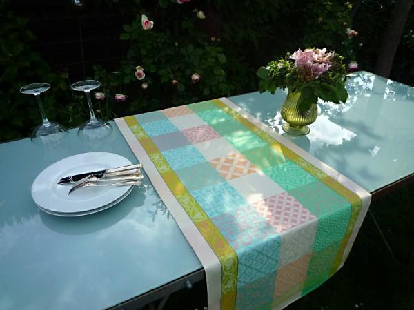 Tischläufer Jacquard Baumwolle 50x150 cm Rigard beige aus Frankreich Provence mit Teflonschutz