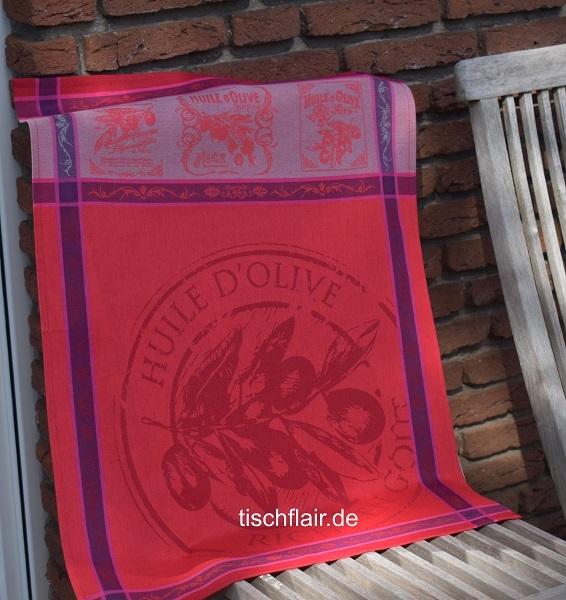 "Jacquard Geschirrtuch Baumwolle ""Gourmet"" in leuchtendem Rot"