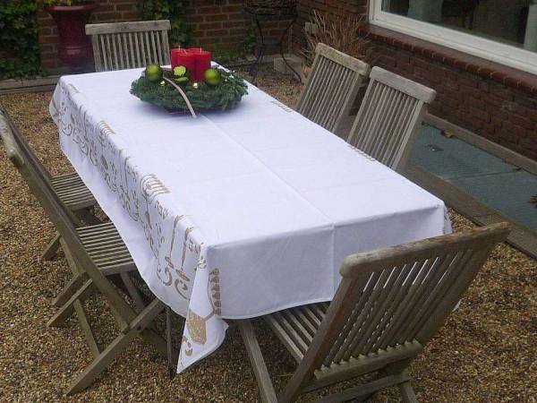 Tischdecke Provence 150x200 cm weiß Ornamente gold aus Frankreich
