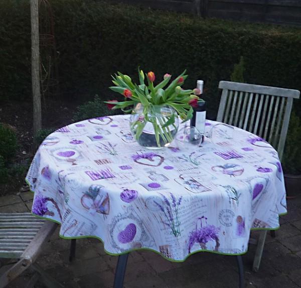 Tischdecke Provence 160 cm rund Lavendel weiß lila aus Frankreich