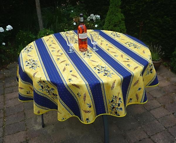 Tischdecke Provence 160 cm rund blau gelb Olivenmotiv aus Frankreich