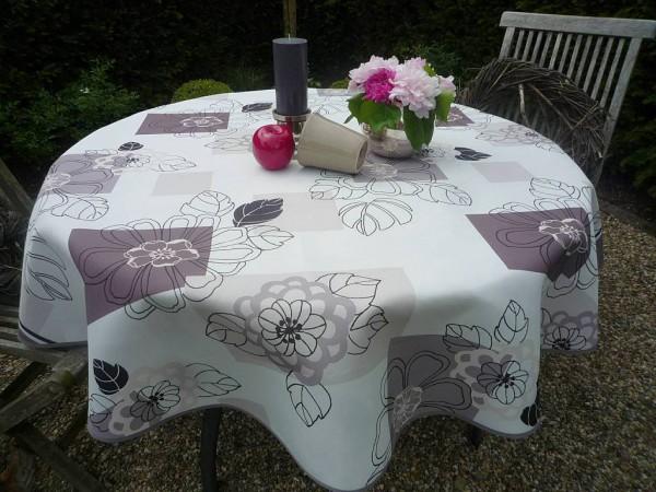 Tischdecke Provence 160 cm rund Blattmotive beige aus Frankreich