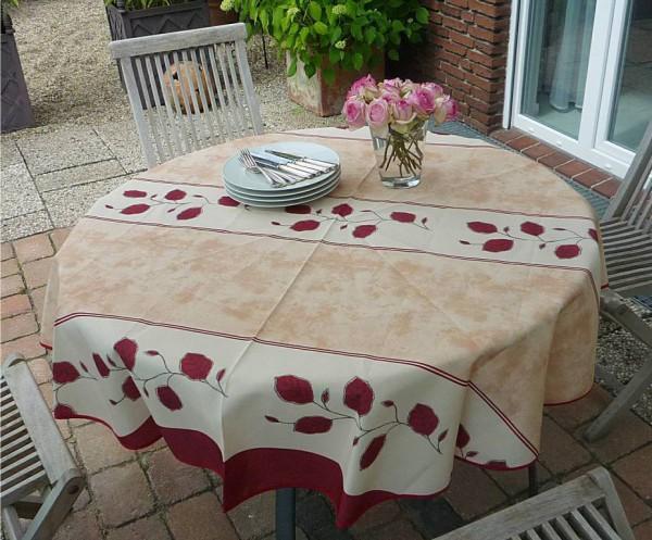 Tischdecke Provence 180 cm rund beige rot Rankenmotiv aus Frankreich bügelfrei