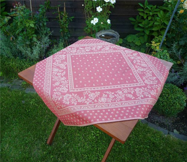 Tischdecke Provence 80x80 cm Baumwolle Jacquard Cigale rouge