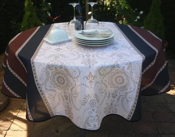 Tischdecke Provence 160 cm rund creme grau braun Ornamentmotiv aus Frankreich