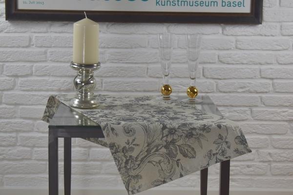 Typisch Französisch! – Gobelin-Tischläufer Cheverny in Creme-Grau