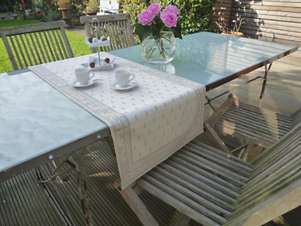 Naturtöne schaffen immer ein elegantes Ambiente... - Feiner Jacquard-Tischläufer Cigale lin