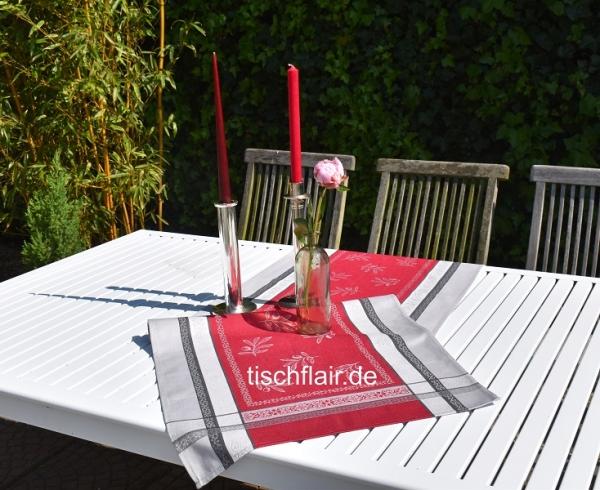 Bordeaux – klassisch dezentes Ambiente – Glanzvoller Jacquard-Tischläufer Cannes rouge 1