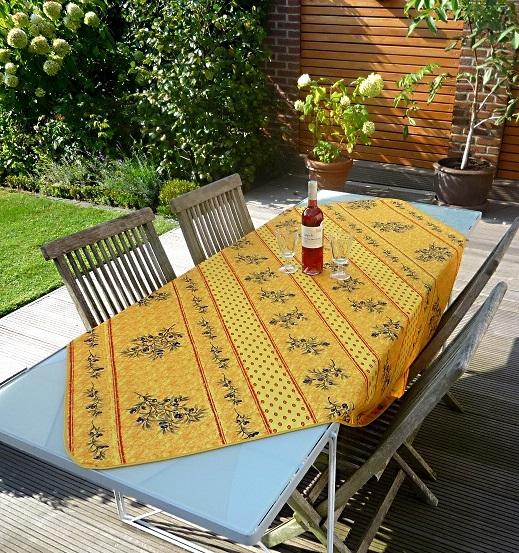 Tischdecke Provence 150x150 cm gelb Olivenmotive aus Frankreich