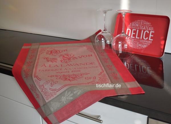 "Jacquard Baumwoll-Geschirrtuch ""Cuisine"" in Bordeaux-Rot"