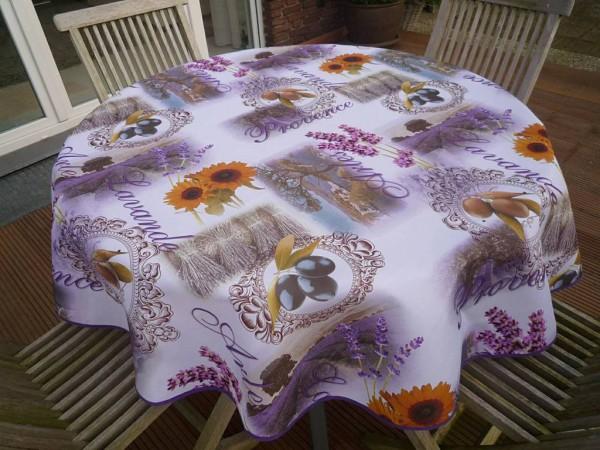 Tischdecke Provence 160 cm rund Oliven Lavendel aus Frankreich