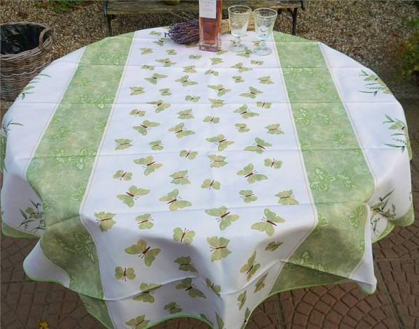 Tischdecke Provence 160 cm rund grün Schmetterlinge aus Frankreich