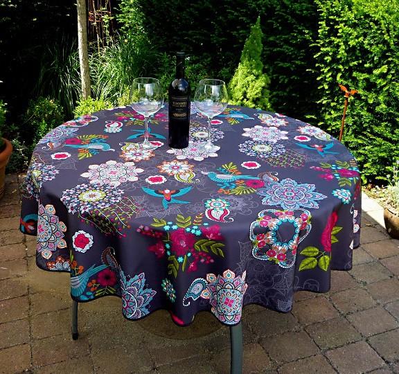 Tischdecke Provence 160 cm rund schwarz Blumenmotiv aus Frankreich