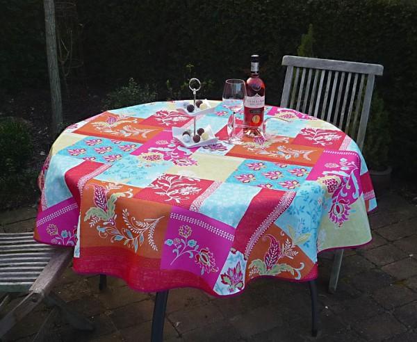 Tischdecke Provence 160 cm rund türkis pink Blumenmotive aus Frankreich