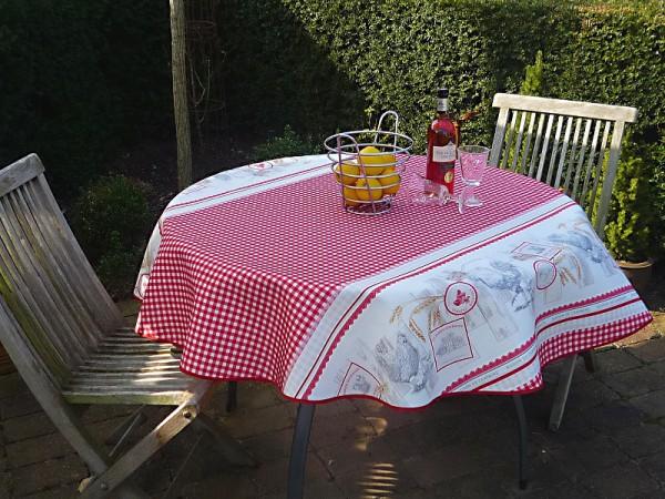 Tischdecke Provence 160 cm rund rot weiß mit Hühnermotiven aus Frankreich