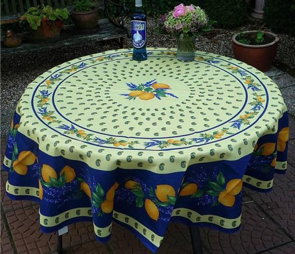 Tischdecke Provence 180 cm rund blau Zitronenmotiv aus Frankreich