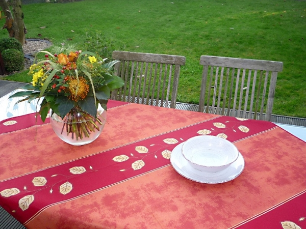 Ein Dreamteam - Tischdecke rot und terra