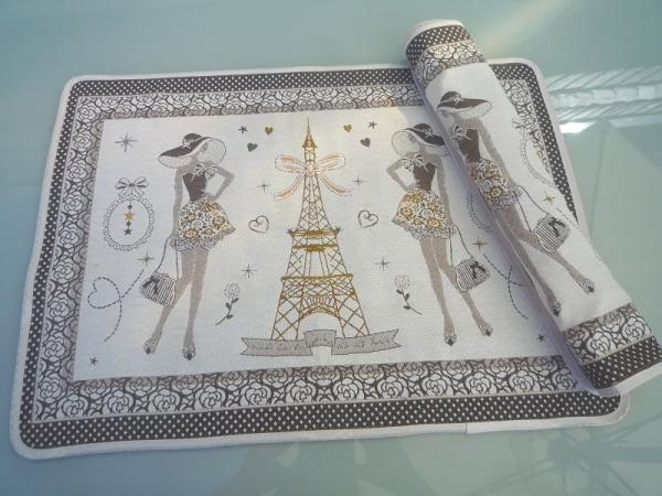 Pariser Chic - Provence Jacquard Tischset Tour Eiffel creme