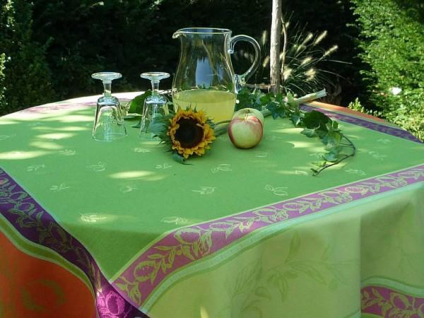 Tischdecke Provence 160x160 cm Baumwolle Jacquard Limone vert deux