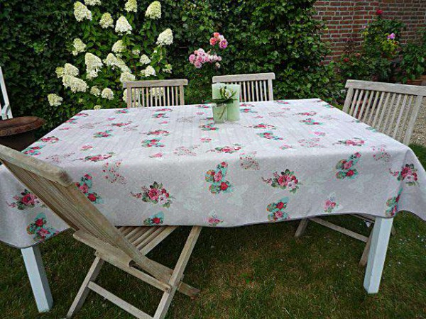 Tischdecke Provence 150x200 cm grau Rosenmotive aus Frankreich