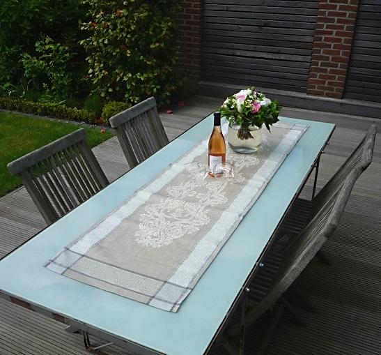Tischläufer Jacquard Leinen 50x170 cm Medaillon taupe mit Hohlsaum