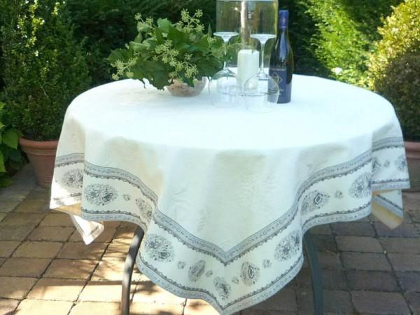 Tischdecke Jacquard ecru DeLuxe 160x160 cm Rose gris Matelassé aus Frankreich Provence