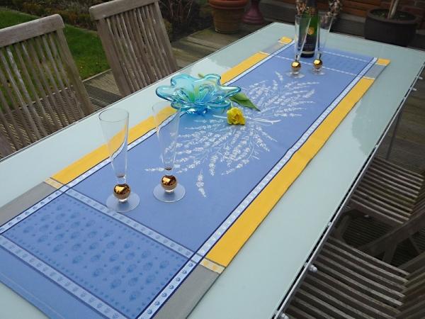 Sonnengelb und Azurblau… - Sommerlicher Tischläufer Valette jaune bleu