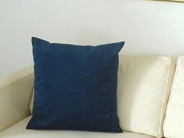 Wasserblau-grün changierender Samt-Look! – Edle Kissenhülle Moulin