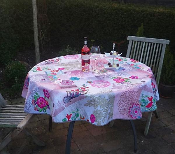 Tischdecke Provence 160 cm rund rosa Blumenmotive aus Frankreich