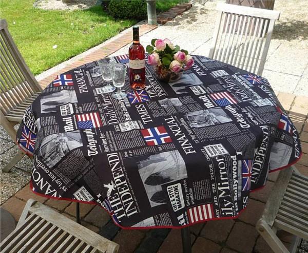 Tischdecke Provence 160 cm rund schwarz Zeitungsmotive aus Frankreich