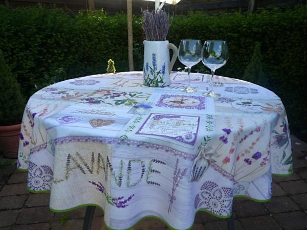 Provence und Lavendel – Cremefarbene Tischdecke