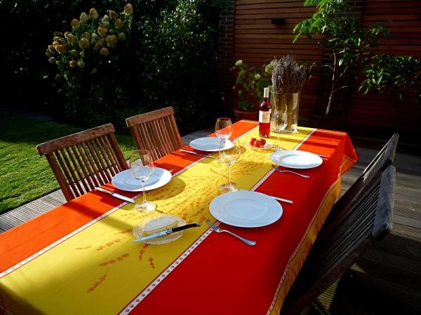 Provence-Feeling Tischdecke Valette terrakotta und sonnengelb
