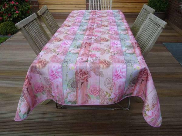 Blütenfülle... Romantisch verspielte Tischdecke Rosé-Pink mit Rosen