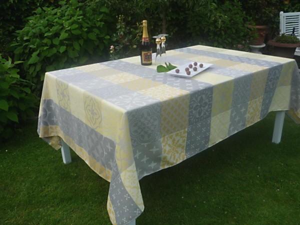 Tischdecke Provence 180x250 cm Baumwolle Jacquard Normandie gris jaune