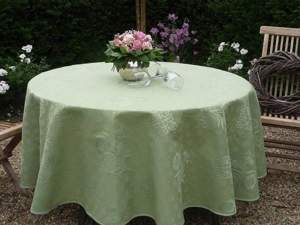 Tischdecke Jacquard rund grün DeLuxe 180 cm uni vert Matelassé aus Frankreich Provence